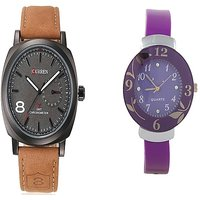 Curren Brown Black Dial and Purpal Dial Flower Watches Couple for Men and Women