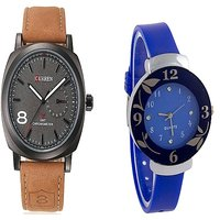 Curren Brown Black Dial and blue Dial Flower Watches Couple for Men and Women