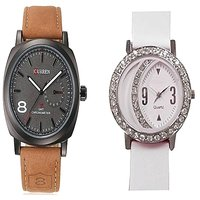 Curren Brown and Round Dial Dimond Moon White Watches Couple For Men and Women