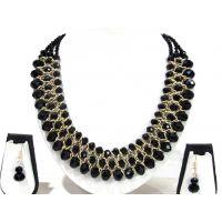 Black Glass Beads Necklace Set