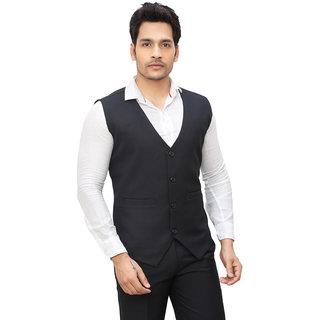 Nu Abc Garments Dark Blue Waistcoat For Mens