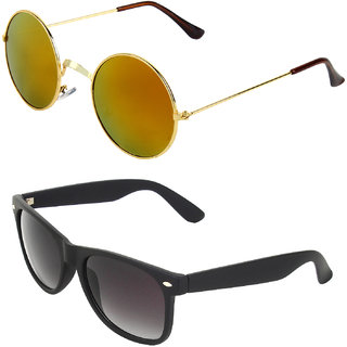 Zyaden Combo of Round And Clubmaster Sunglasses (Combo-185)