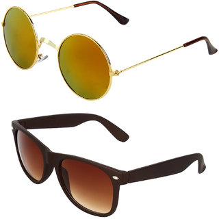 Zyaden Combo of Round And Clubmaster Sunglasses (Combo-187)