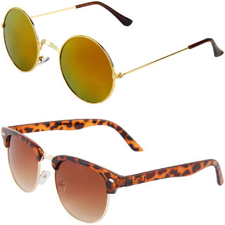 Zyaden Combo of Round And Clubmaster Sunglasses (Combo-199)