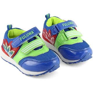 DeVEE Junior Fuluwa Boys Blue Green Double Velcro Strap Closing Running Shoes