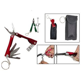 Micro Plier 9 in 1 Function Tool Kit Flash Light Wire Cutter Snap Key Ring