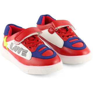 DeVEE Junior Love-stared Boys Red Blue Flat Velcro Closing Running Shoes