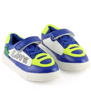 DeVEE Junior Love-stared Boys Blue Yellow Flat Velcro Closing Running Shoes