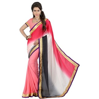 OJHAS Chiffon Sarees with fancy printed Crepe pallu