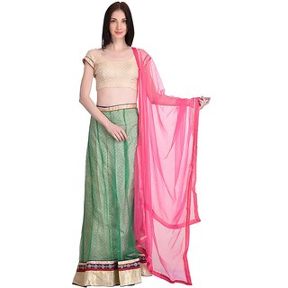 Stylogue Green Pink Lehenga With Semi Stitched Blouse