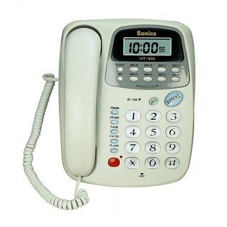 16 Memory Two-way Speaker Phone with Clock Phone HT- 818 White