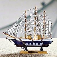 Jaycoknit Mediterranean Sea's Lucky Wooden Handcrafted Ship Part III Showpiece-24 cm