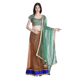 Stylogue Orange Green Lehenga With Semi Stitched Blouse