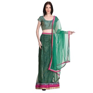 Stylogue Dark Green Lehenga With Semi Stitched Blouse