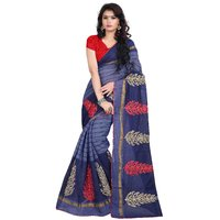Pari Designerr Multicolor Embroidered Cotton With Blouse Saree For Women