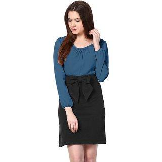 Klick2Style Full Sleeves Color Block Bow Style Shift Dress Turq Black