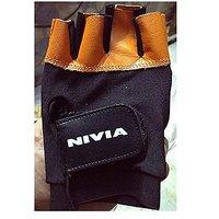 Nivia Leather Gym Gloves (Black/Silver)