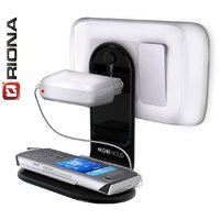 Riona 2 Pcs Wall Mobile Phone Holder/Shelf With Antislip Pad - Mobihold WS Black