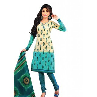 Salwar Studio Fawn & Blue Cotton Unstitched Churidar Kameez With Dupatta