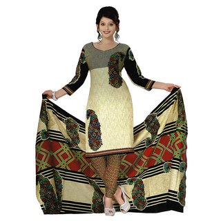 Salwar Studio Fawn & Black Cotton Unstitched Churidar Kameez With Dupatta
