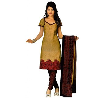 Salwar Studio Fawn & Maroon Cotton Unstitched Churidar Kameez With Dupatta
