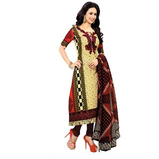 Salwar Studio Fawn & Red Cotton Unstitched Churidar Kameez With Dupatta