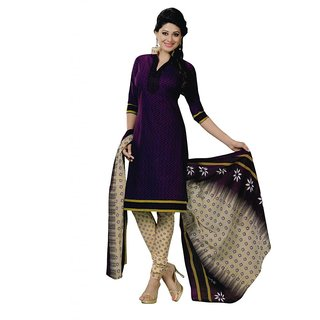 Salwar Studio Purple & Fawn Cotton Unstitched Churidar Kameez With Dupatta