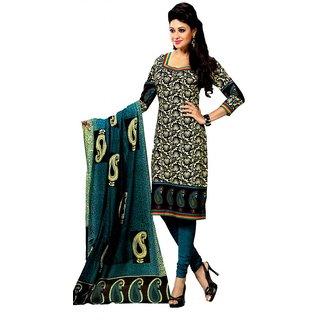 Salwar Studio Blue & Fawn Cotton Unstitched Churidar Kameez With Dupatta