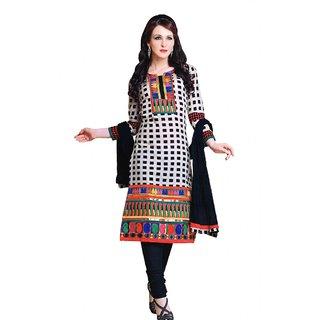 Salwar Studio Fawn & Black Cotton Unstitched Churidar Kameez With Dupatta