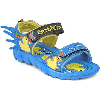 ACTION SHOES DOTCOM KIDS SANDALS KS-124 BLUE-YELLOW