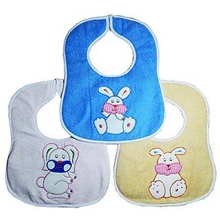 CRACK4DEAL Cartoon Printed Baby Feeding Multi-Colored Bib Apron Jacket (Set Of 3)