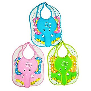 CRACK4DEAL Elephant Print Baby Feeding Multi-Colored Bib Apron Jacket (Set Of 3)