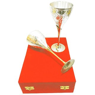 The Greens Silver Gold Plated Designer Wine Glass Set