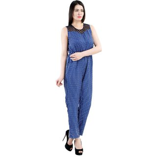 Westrobe Womens Navy Blue Polka Dot Jumpsuit