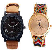 Curren Brawn and Geneva Analog Couple watches for Men and Wemen