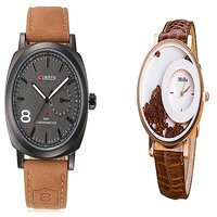 Curren Broun and Broun MxreCouple Watches For Men and Women