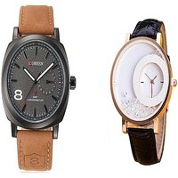 Curren Broun and Black MxreCouple Watches For Men and Women