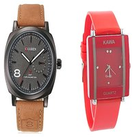 Curren Brown and Red Kawa Watches For Men and Women