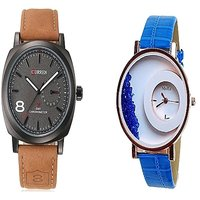 Curren Brown Black Dial and Mxre Blue Women Watches for Men and Women