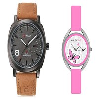 Curren Brown Black Dial and Valentime Pink Women Watches Couple for Men and Women