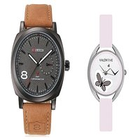 Curren Brown Black Dial and Valentime White Women Watches Couple for Men and Women