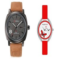 Curren Brown Black Dial and Valentime Red Women Watches Couple for Men and Women