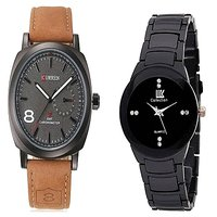 Curren Brown Black Dial and IIK  Black Women Watches for Men and Women