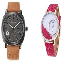 Curren Black Dail and Mxre Pink Women Couple Watches for Men and Women