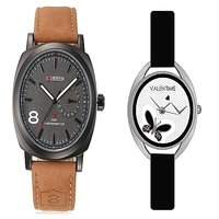 Curren Brown Black Dial and Valentime Black Women Watches Couple for Men and Women