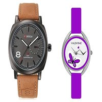 Curren Brown Black Dial and Valentime Purple Women Watches Couple for Men and Women