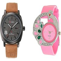 Curren Brown and Glory pecock Pink Watches Couple For Men and Women