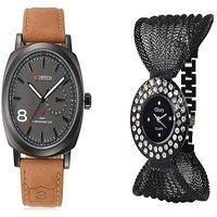 Curren Broun and Fancy Zulla Black  Watches Couple for Men and Women