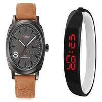 Curren Broun and Black Digital pu LED  Watches Couple for Men and Women