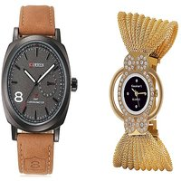 Curren Broun and Fancy Zulla Gold  Watches Couple for Men and Women